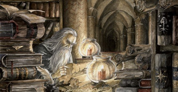 Gandalf in the archives of Minas Thirith